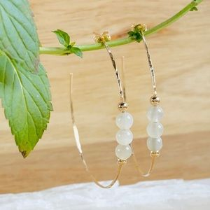 White Moonstone Hoop Earrings 14/20 Gold Filled